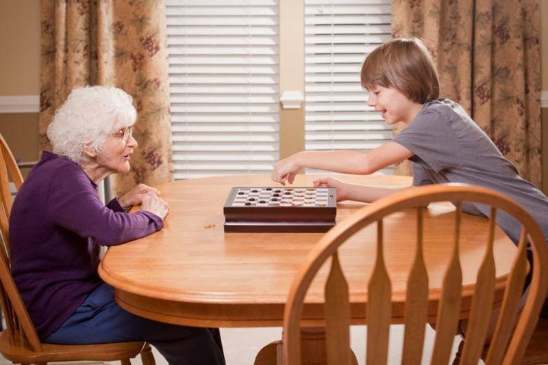 grandson grandmother checkers