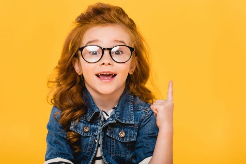 A child wearing glasses