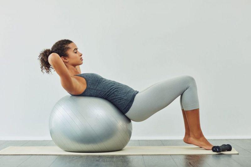 yoga ball crunches exercise
