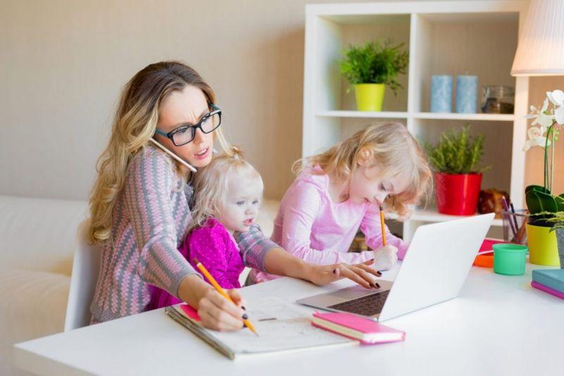 woman stressed working children