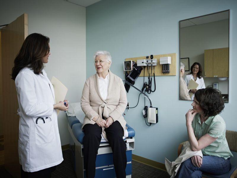 elderly female with doctor