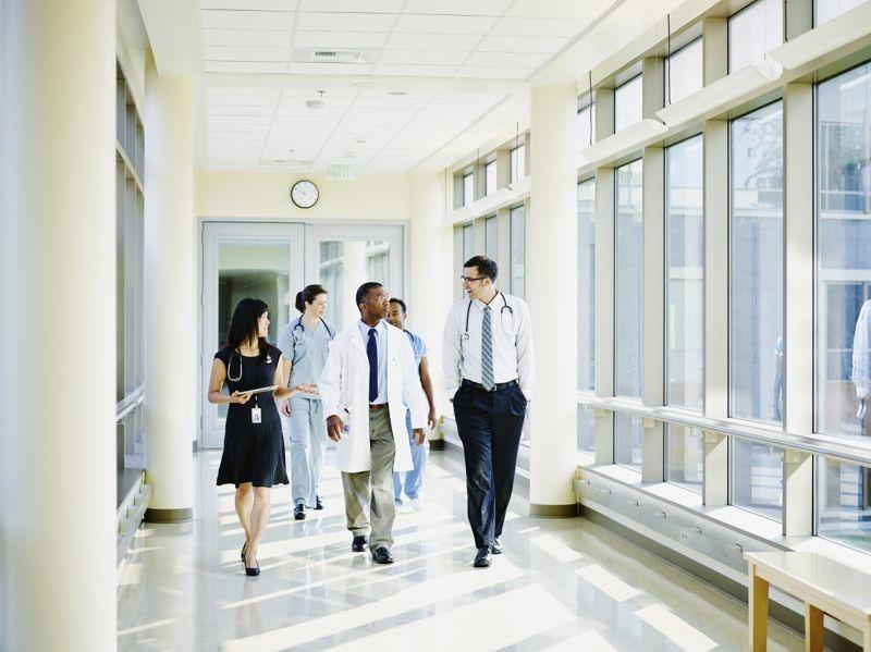 Doctors walking talking