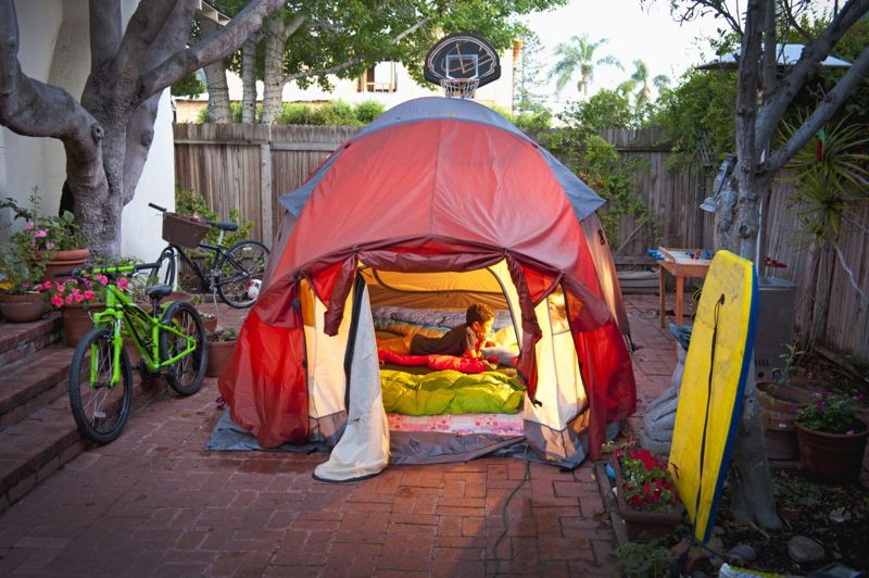 Camping at home can be an adventure