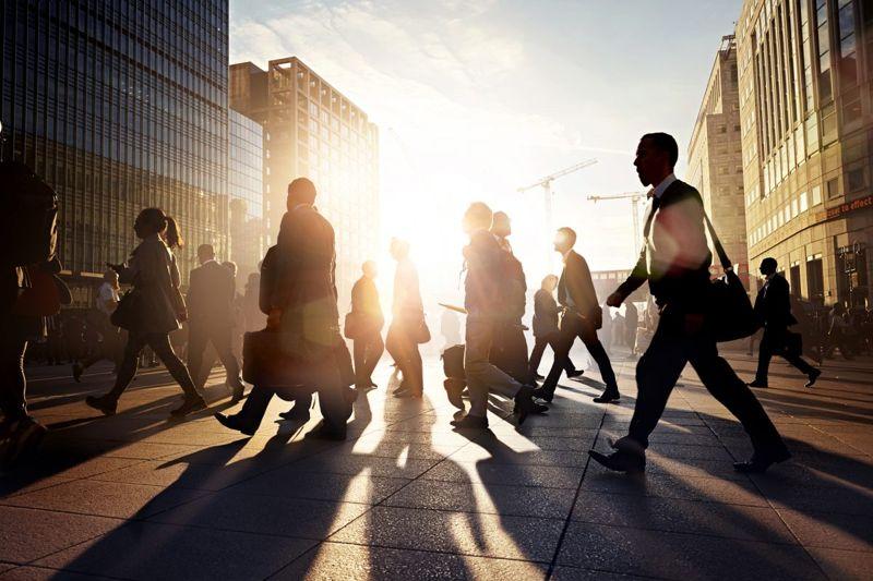 employees walking work
