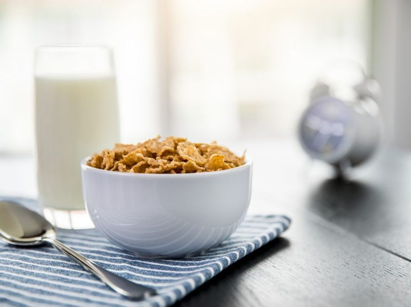 Whole-grain cereal and milk