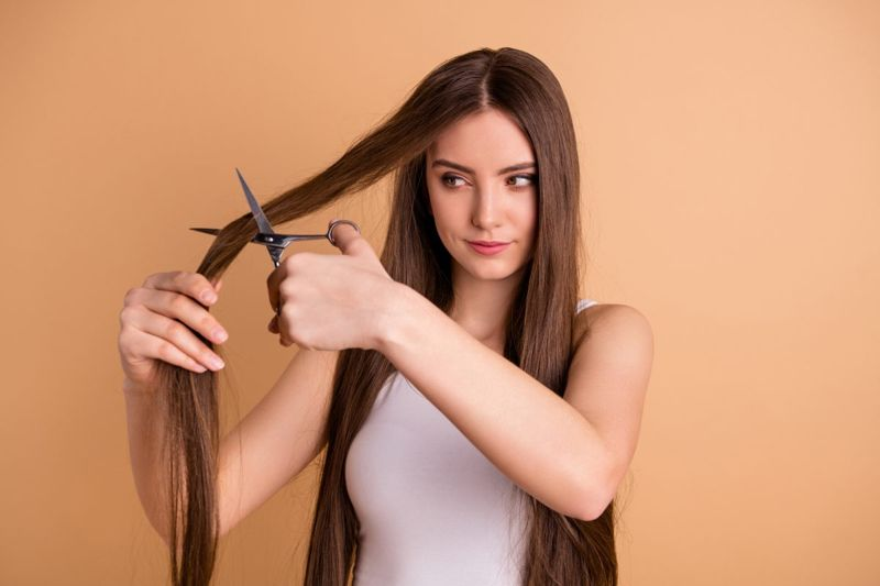 hair, scissors, woman