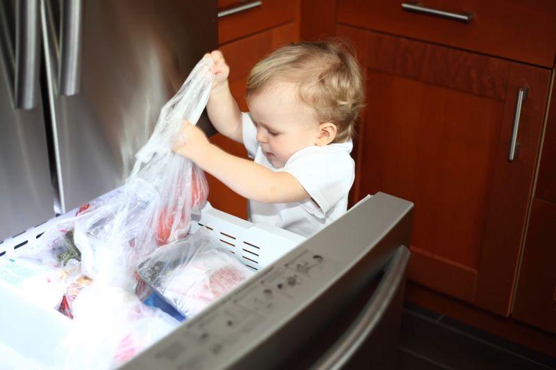 little boy freezer door