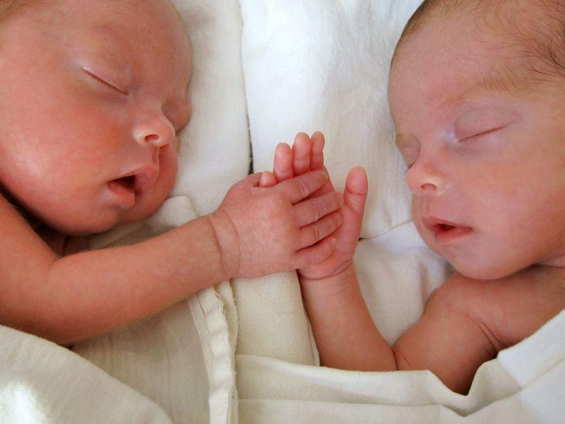 Newborn preterm twins.