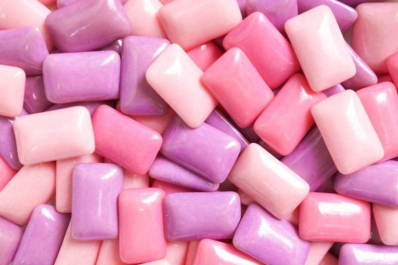 Pink and purple bubblegum pieces