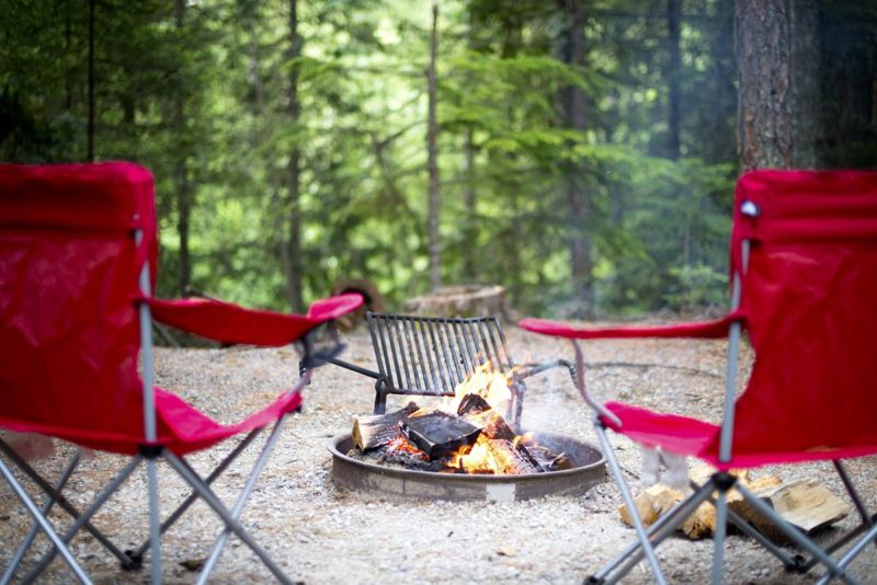 chairs, camping, fire