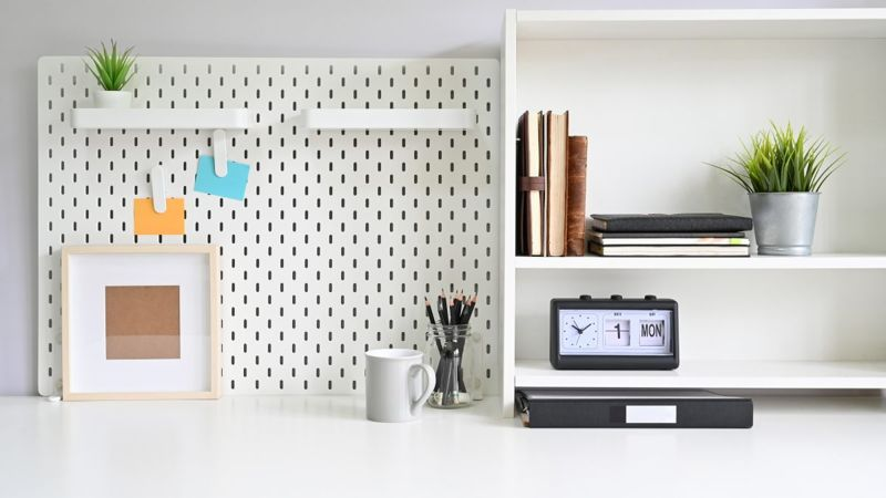 pegboard hanging office supplies