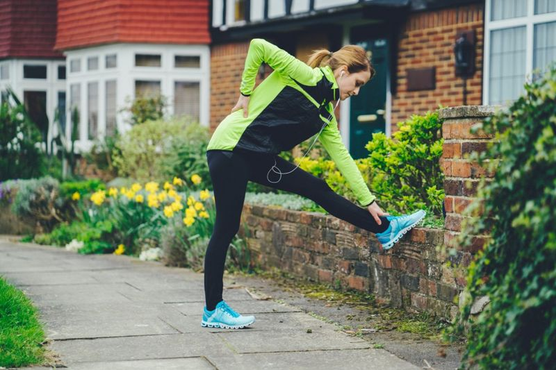running shoes and stretches