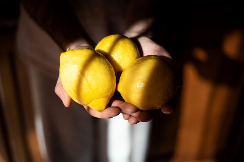 lemons in hand