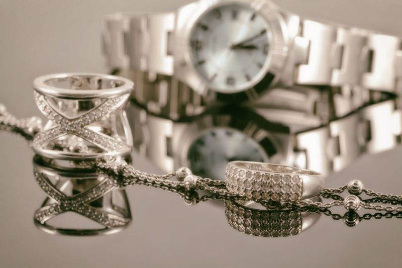 Silver rings and watch