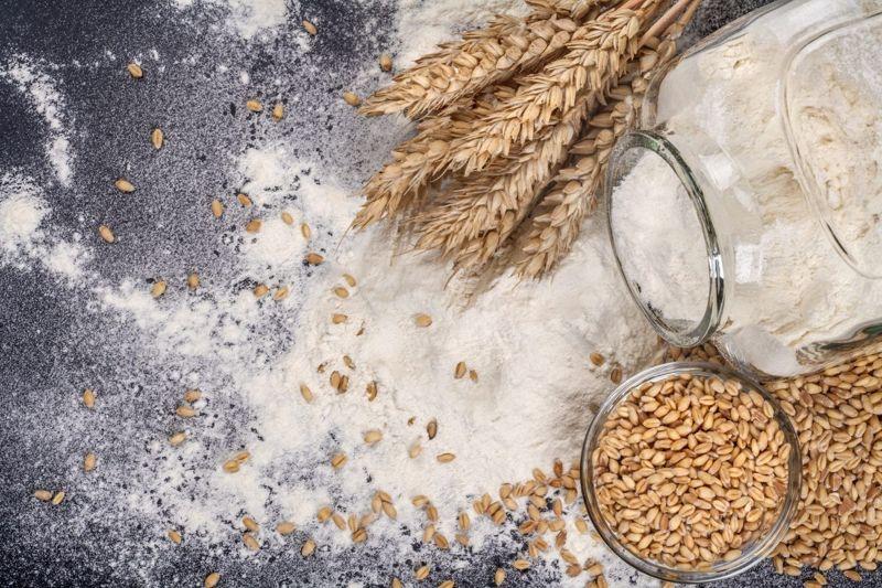 Jar with flour and grain