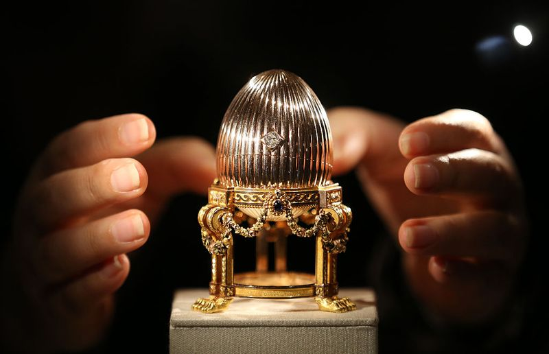 he Third Faberge Imperial Easter Egg is displayed at Court Jewellers Wartski on April 16, 2014 in London, England. This rare Imperial Faberge Easter Egg, made for the Russian Royal family in 1887, thought to be worth tens of millions of dollar, was seized by the Bolsheviks after the Russian revolution. It was sold at auction in New York in 1964 as a 'Gold watch in egg form case' for $2450 - its provenance then unknown. Later a buyer in the US Mid-West bought it for possible scrap metal value until he discovered it's true value.