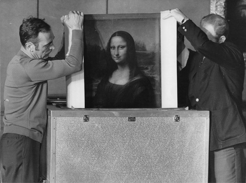 The Mona Lisa is packed for the transport to Tokyo. Louvre. Paris. 15th April 1974.