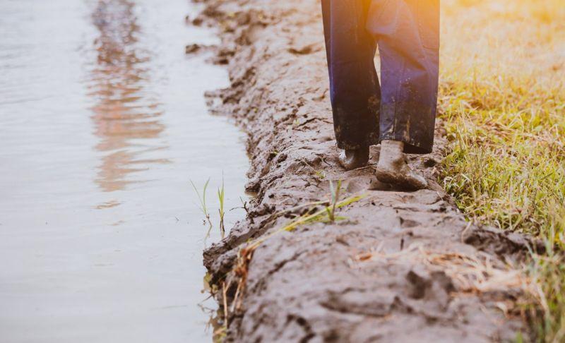 walking barefoot mud
