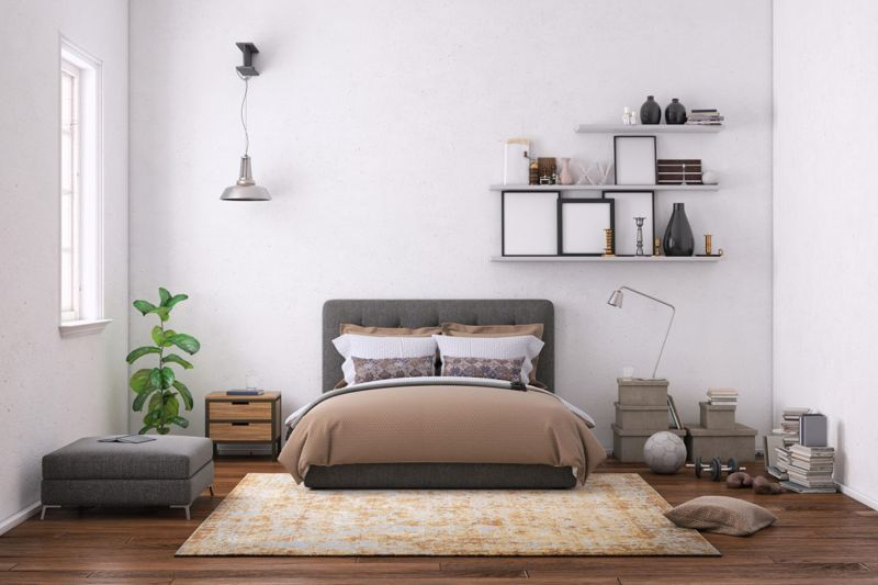 Bedroom with wall-mounted shelves