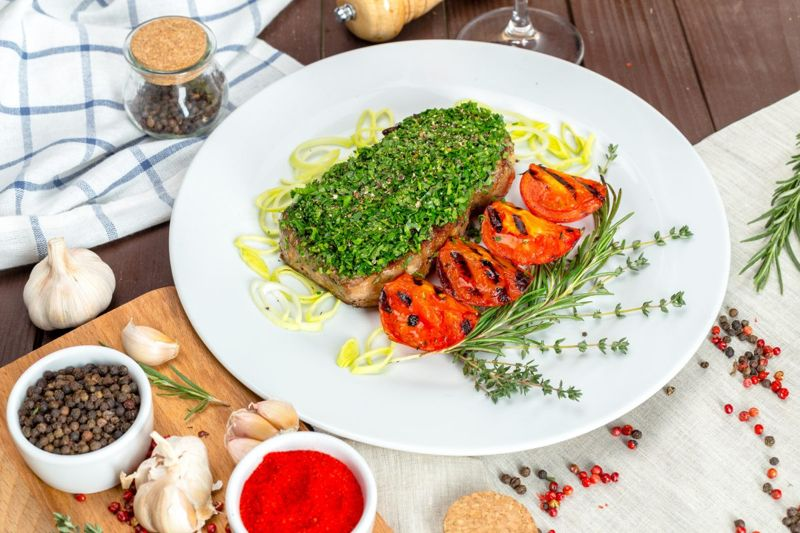 steak with cilantro chimichurri