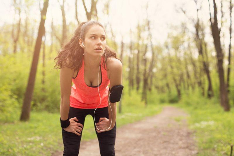 Female runner resting