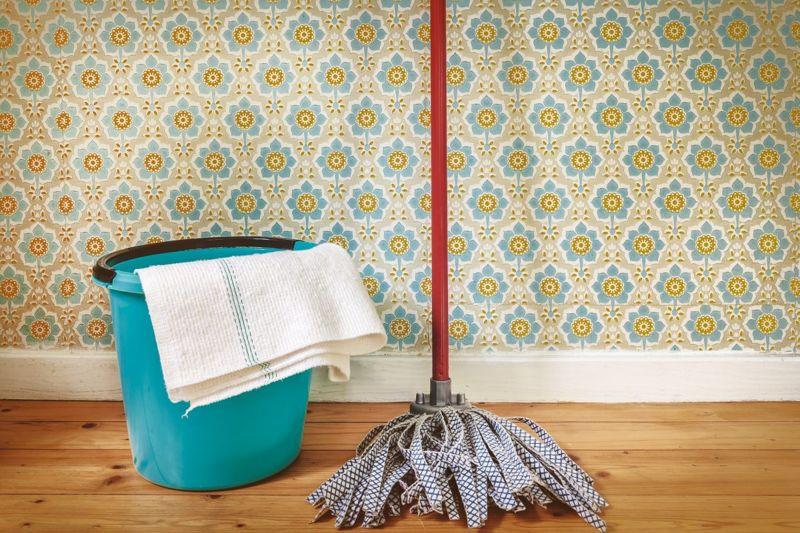 Mop in front of wallpaper