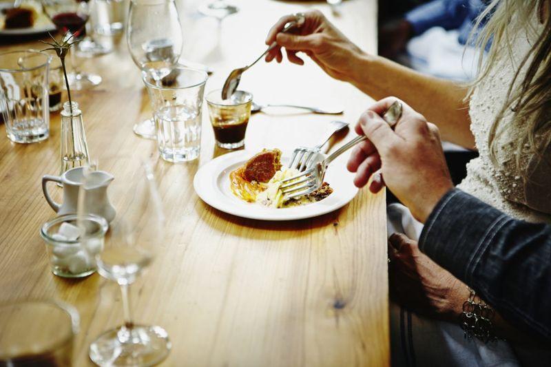 couple, restaurant, hands, food