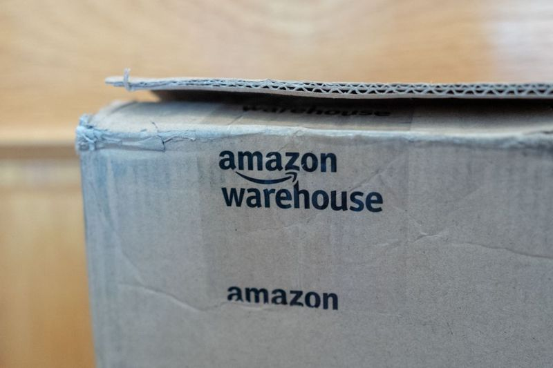 Close-up of logo for Amazon Warehouse on Amazon Prime package, San Ramon, California, May 20, 2020.