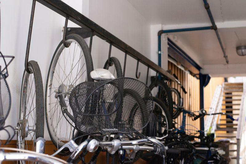 Bikes stored upside down