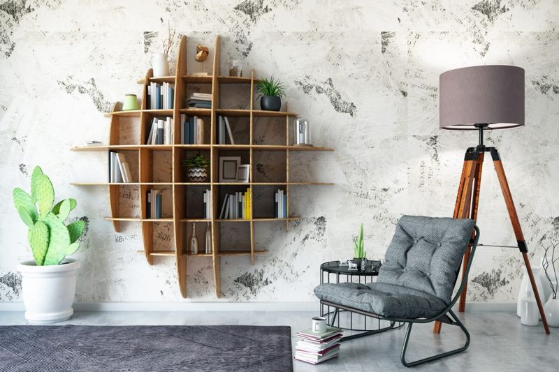 books living room floating shelves
