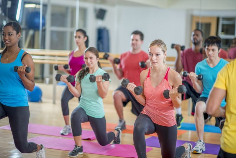 exercise class lunging