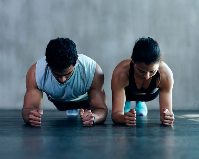 front plank couple exercise