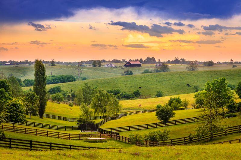 Beautiful evening scene in Kentucky's Bluegrass region