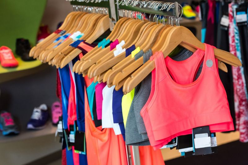 Rack of summer running clothes