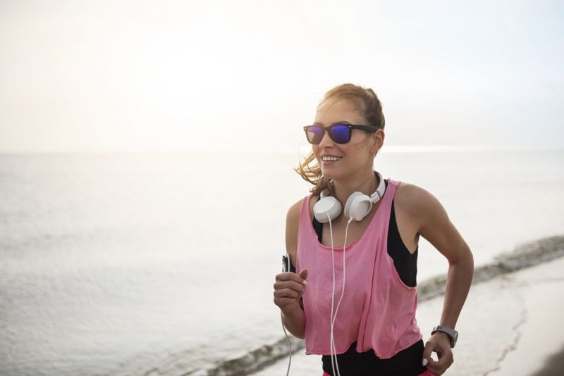 Runner wearing sports sunglasses