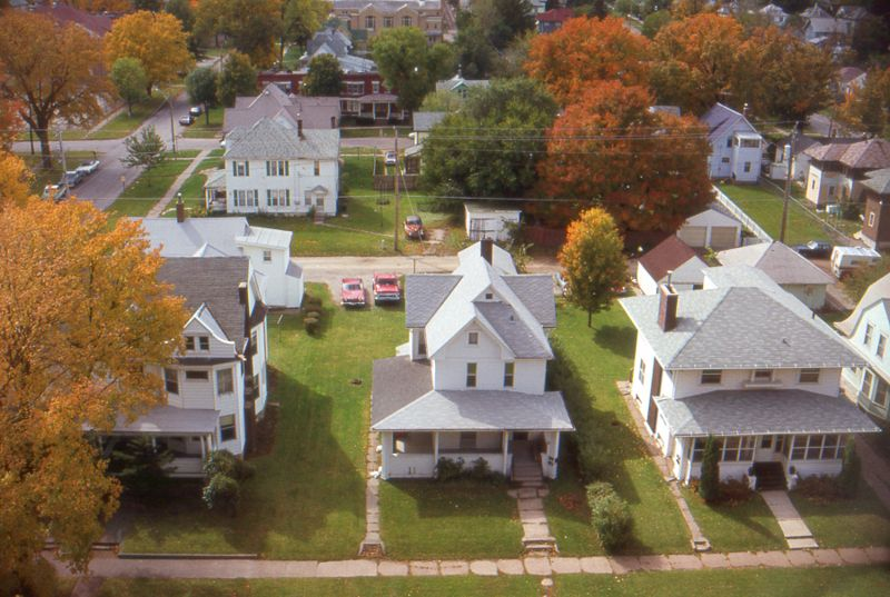 Aerial view of small town Iowa, USA. 1985.
