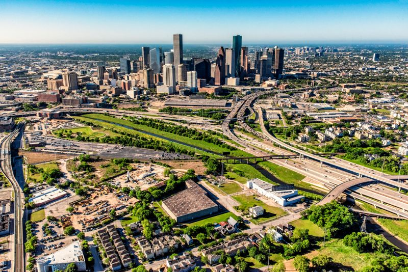 The modern skyline of downtown Houston, Texas, America's fourth largest city, shot aerially from an altitude of about 1000 feet.