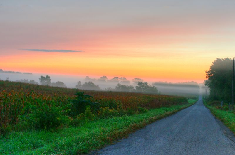 Sunrise on a country road-Miami County Indiana