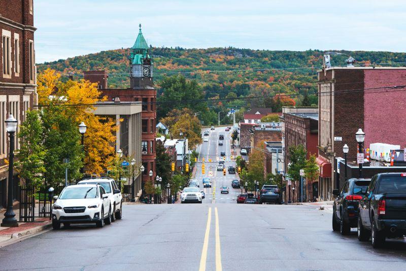 Downtown Marquette, MI in the autumn.
