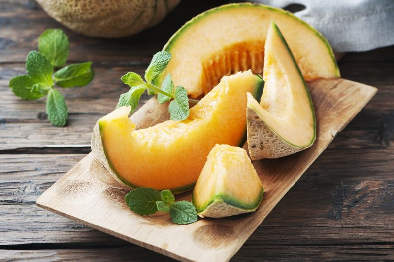 Cantaloupe on a serving plate