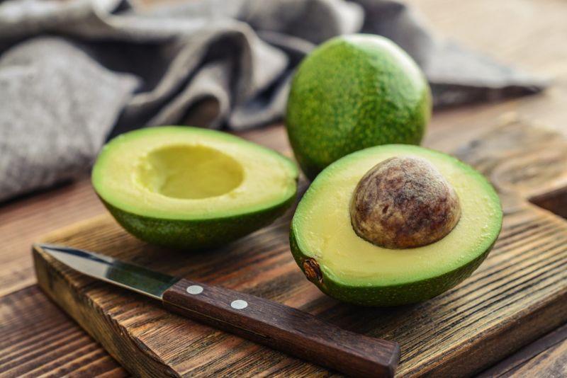 Avocados on a cutting board