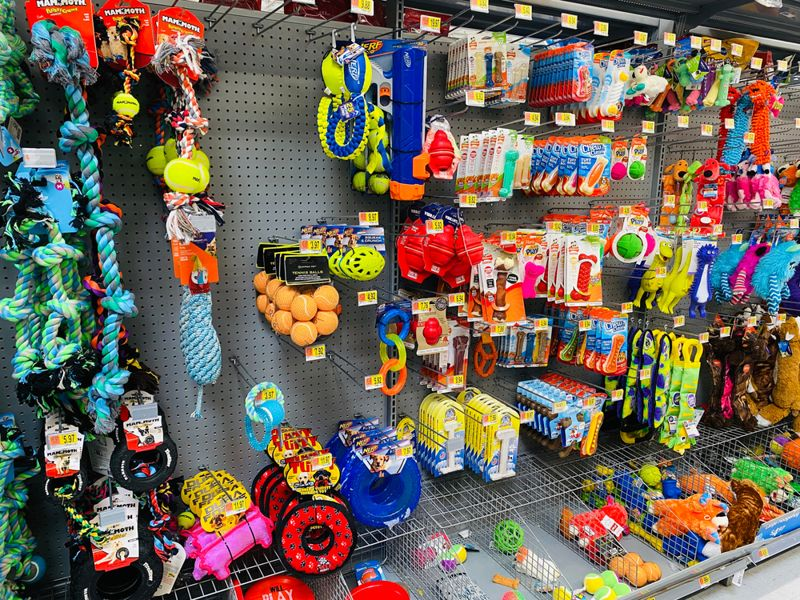 Close up of dog chew toys and squeaky widgets in the pet section of a Walmart store.