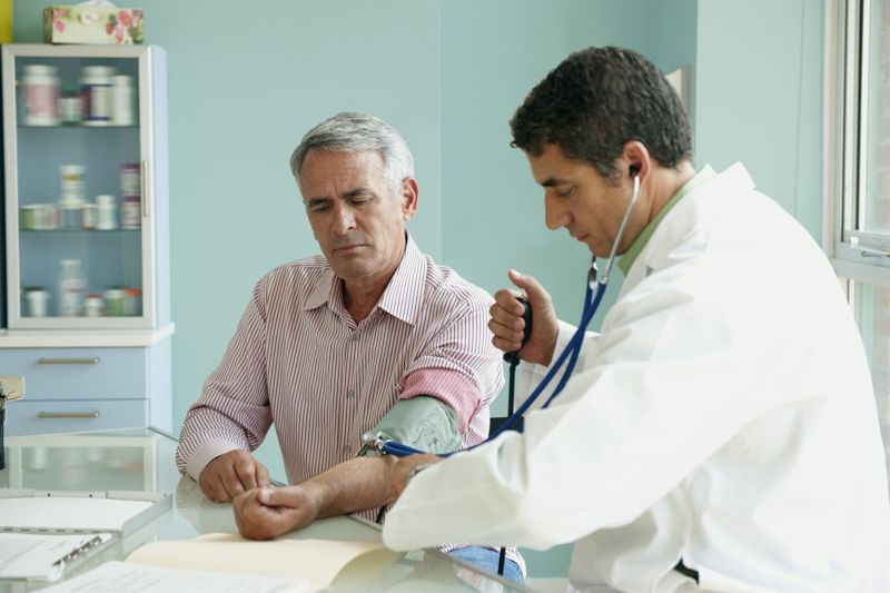 checking blood pressure levels