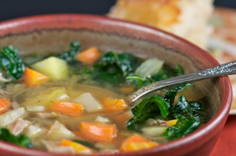 Add leafy greens to soup when you are sick.