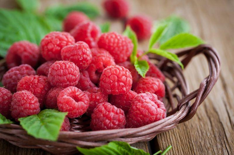 raspberries in a bowl