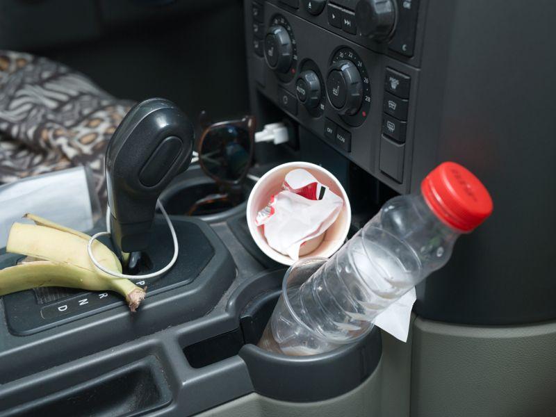 Closeup of a modern car needs cleaning inside