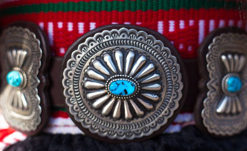 Vintage Southwest Native American Silver and Turquoise Belt, Close-Up