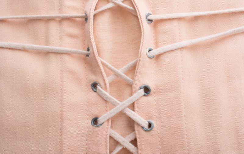 Vintage cotton girdle / corset close up