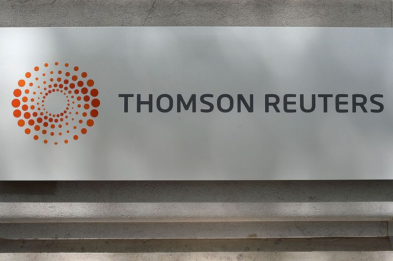 PARIS, FRANCE - MAY 05: The corporate logo of Thomson Reuters is pictured on May 5, 2014 in Paris, France.