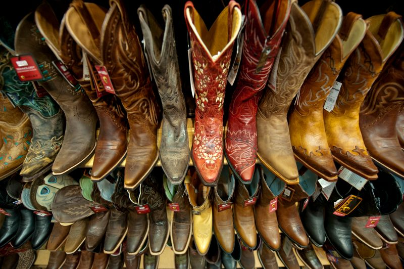 A selection of boots at the BOOT BARN inside Bloomington, Minnesota's Mall Of America